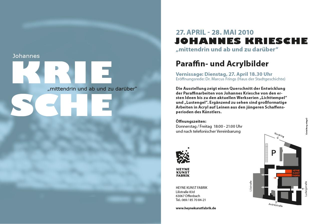 """2010 – Johannes Kriesche """"mittendrin und ab und zu darüber"""""""